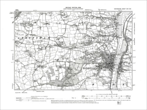 19NW Old Map Devon 1906 Bideford