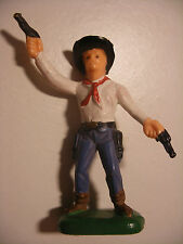 Soldat ancien 1/32 Figurine starlux CLAIRET France Far West COWBOY 2 revolvers