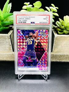 2019-20-Panini-Mosaic-LEBRON-JAMES-Pink-Camo-Prizm-8-PSA-9-MINT-LAKERS