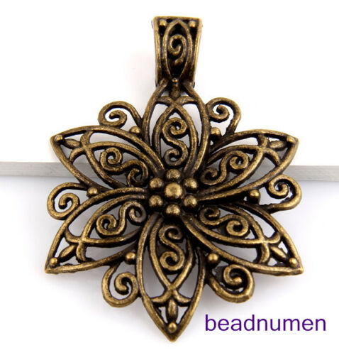 2Pcs Zinc Alloy Silver Bronze Flowers pendants 66x48mm 1A405