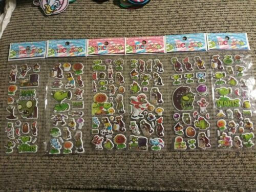 6 Packs Plants vs Zombies PVZ 3D Puffy Stickers NIP