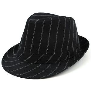 Pinstripe Trilby A Cotton Unisexe Hawkins Gangster Cap Fedora 3 Sizes-afficher Le Titre D'origine