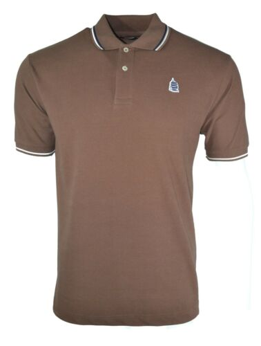 best service df71a 2b2b2 Details about BNWT MARINA YACHTING POLO SHIRT BROWN WITH NAVY WHITE TRIM  SAILING BOATING