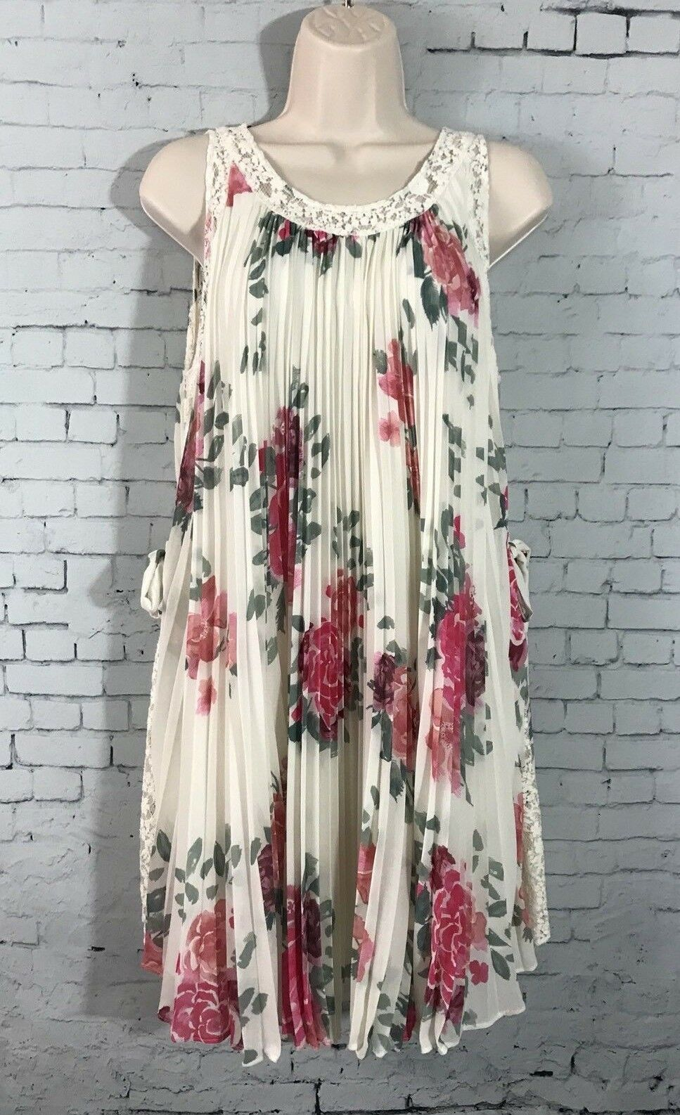 Free People Pleated Tent Dress Small Lace Inset Side Tie Rosa Floral Weiß NWOT
