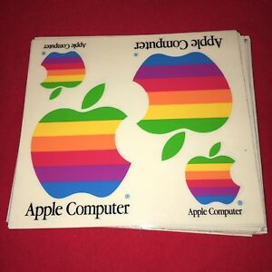 VINTAGE APPLE COMPUTER RAINBOW LOGO DECAL STICKER SET OF 2 NOS