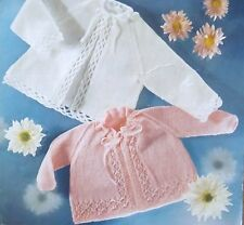 """Vintage Knitting Pattern Baby Clothes 2 Matinee Coat 16-20""""/41-51 cm 3 Ply K2280"""