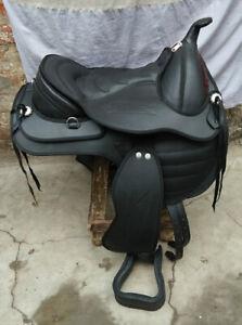 """New Black Synthetic Western Style Treeless Horse Saddle sizes 16/""""To18"""