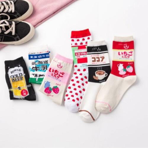 Womens Girls Cute Fruit Milk Korean Socks Japanese Harajuku Funny Kawaii Socks