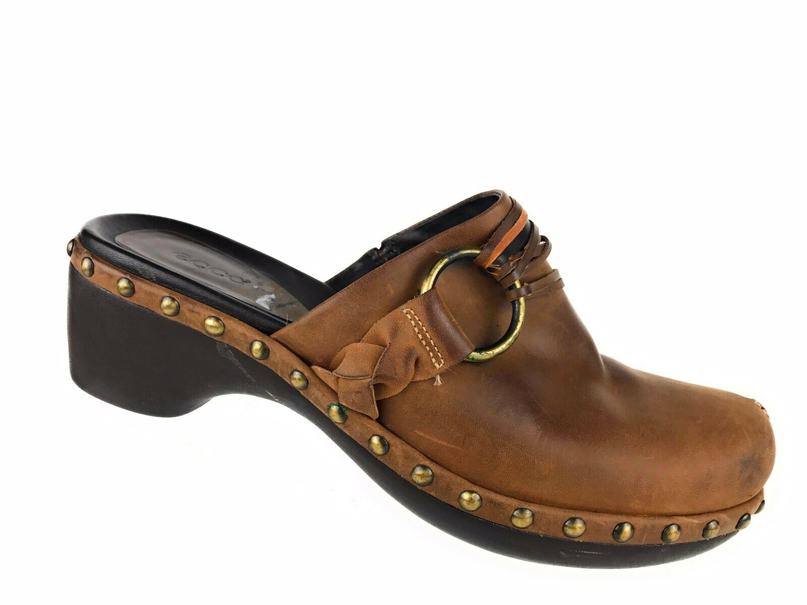 Ecco Brown Leather Studded Stud Heel Mule Clogs Slip On Women's Sz 39 US 8 8.5