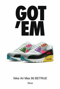 Details about 2019 Nike Air Max 90 Be True Size 9.5 Multicolor White Black CJ5482 100 Rainbow