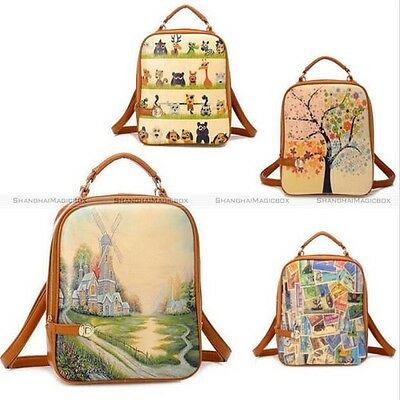 Vintage Womens Backpack Faux Leather Colorful Print Student School Bag