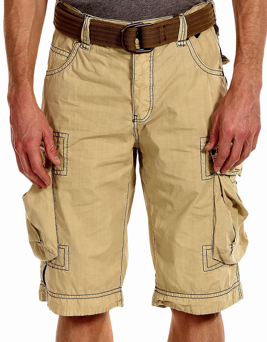 JET LAG Men's Cargo Shorts - LCY - LIGHT gold with Removable Belt - NEW - Jetlag