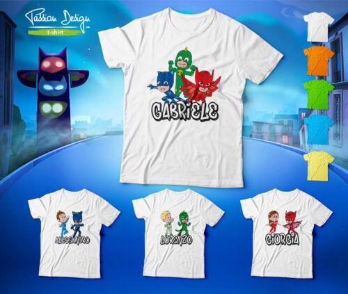 MAGLIA T-SHIRT Personalizzata  PJ MASKS Super Pigiamini GECO GATTOBOY GUFETTA