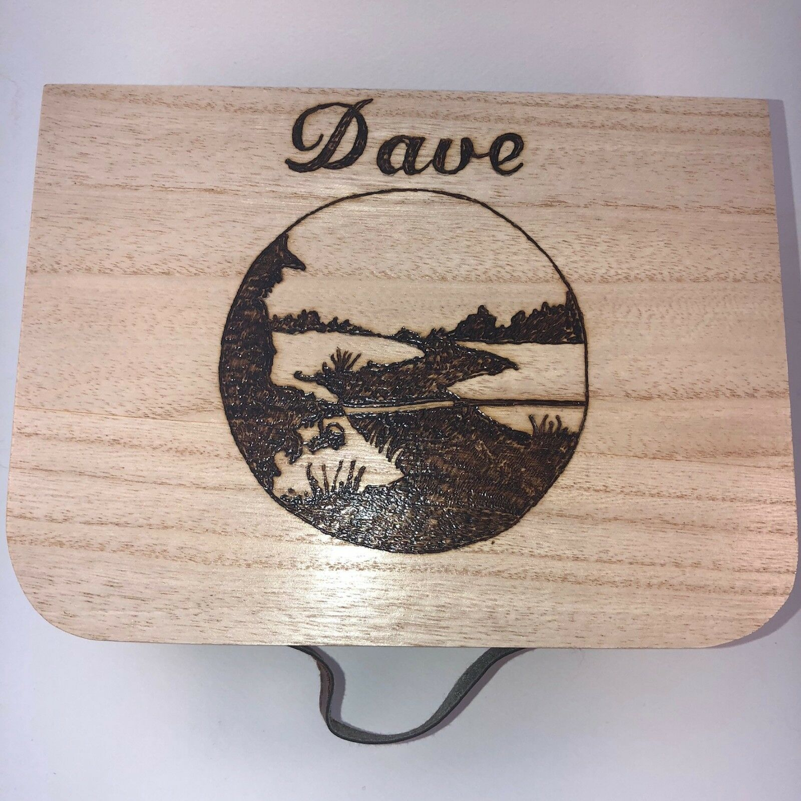 Fishing Fly Box Reel Box Personalised Box with Handle