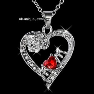 Mum-Necklace-Silver-Heart-Crystal-Pendant-Chain-Xmas-Gifts-For-Her-Mother-Women