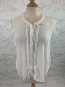 6a571447a502a Anthropologie Eri + Ali Women s White Lace Trim Sleeveless Blouse ...