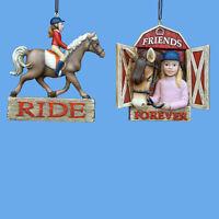 Equestrian Girl W/horse Ornament