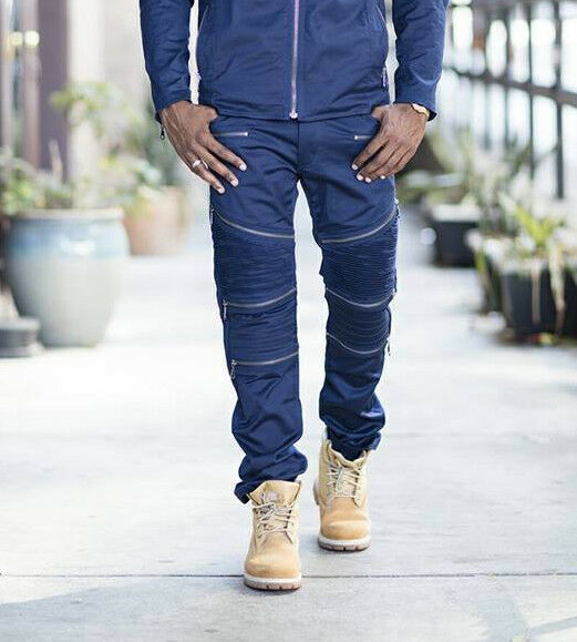Men's Navy Zip Fashion Pants