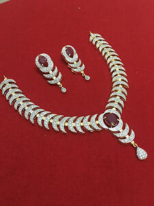 Indian-Ethnic-Bollywood-CZ-Gold-Plated-Fashion-Jewelry-Necklace-Set
