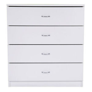 Bedroom-Storage-Dresser-4-Drawers-with-Cabinet-Wood-Furniture-White