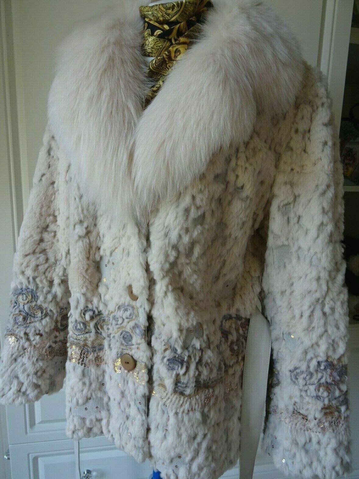 Ostra  Beige esquilada piel verdadera Fox conejo chaqueta tamaño de Reino Unido 12 14  barato en alta calidad