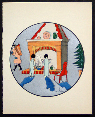 1920 S Art Deco Christmas Greeting Card Pochoir Santa Children Gifts Ebay