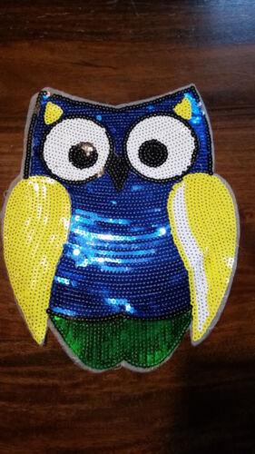 XL-Patch lechuza azul pájaro amarillo con lentejuelas lentejuelas Patch
