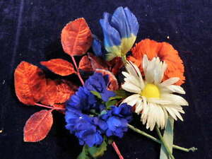 Vintage-Millinery-Flower-Collection-2-034-3-034-Red-White-Blue-Velvet-Shabby-H854