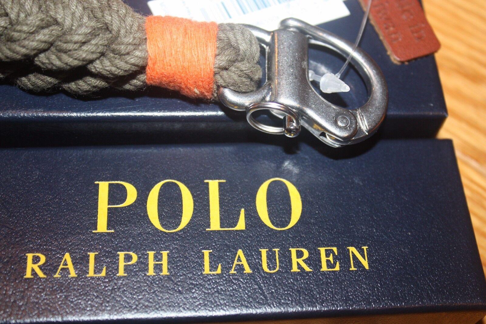 POLO Ralph Lauren Snap Shackle Braided Key Chain Fob NWT Boxed Indigo Blue