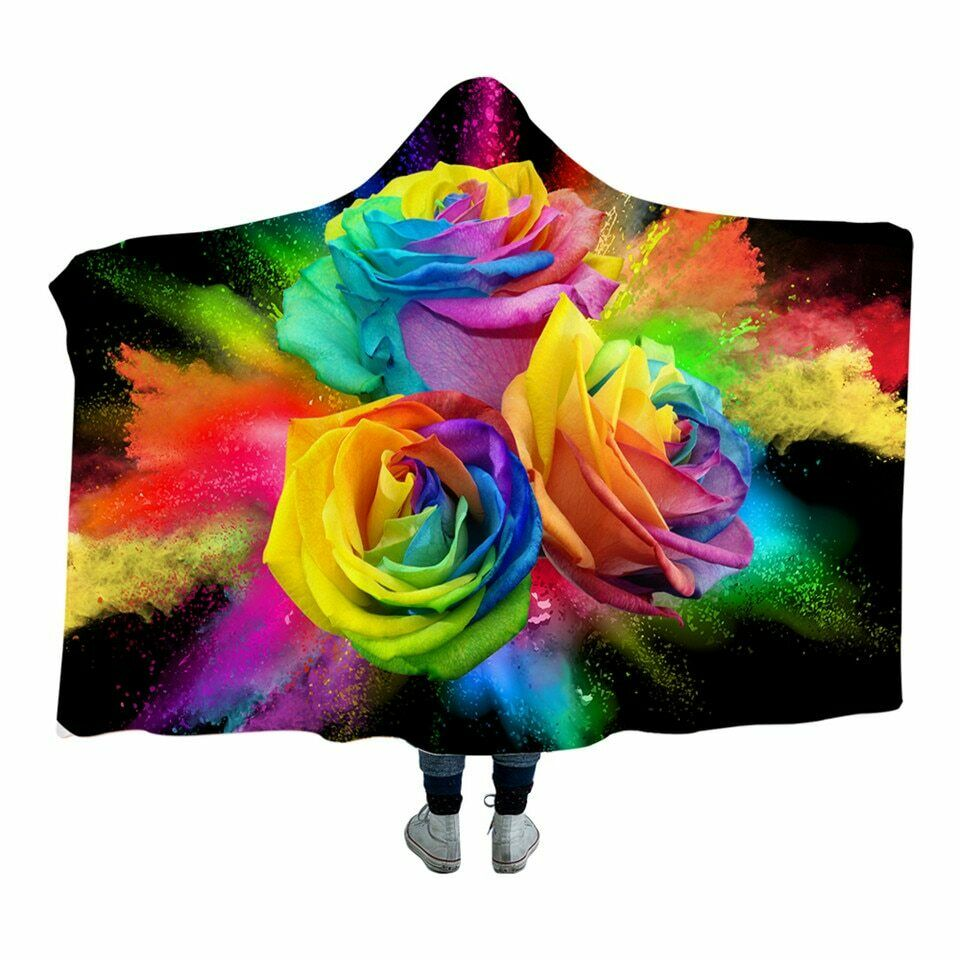 3D Floral pinks Colourful Kids Adults Sherpa Fleece Fur Hooded Blanket Throw