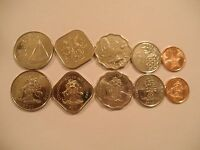 Lot of 10 Bahamas Coins Currency 25 15 10 5 1 cents Uncirculated Marine Boat Fis