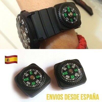 2x Mini Brújula Para Correa De Reloj Deporte Aventura  Senderismo Compass 2unid.
