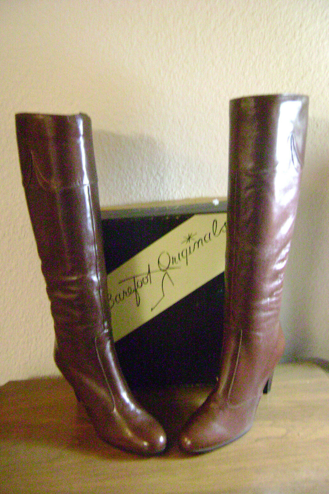 BAREFOOT ORIGINALS BROWN CALF SKIN LEATHER KNEE HIGH BOOTS, NEW IN BOX, SIZE 6 M