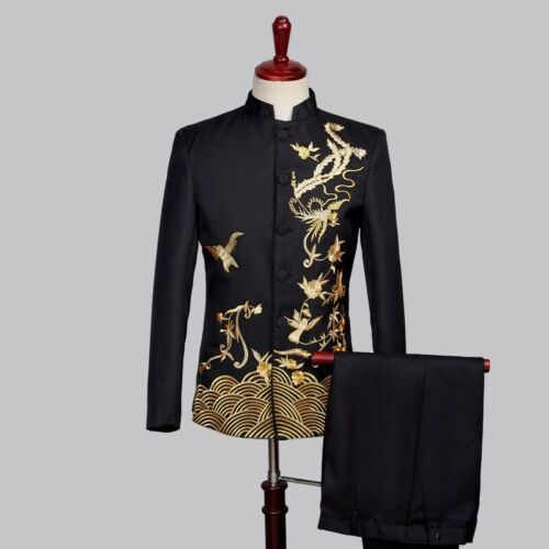 Mens Long sleeve Single breasted Chinese tunic suit Compere dress 2 Piece Formal