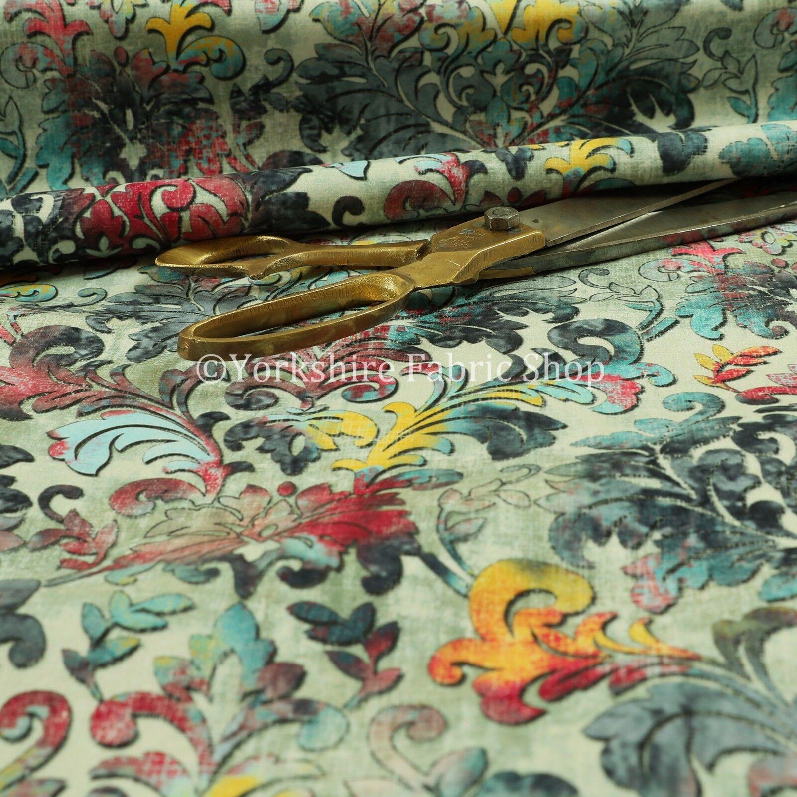 Modern Printed Velvet Floral Blue Damask Multi Colour