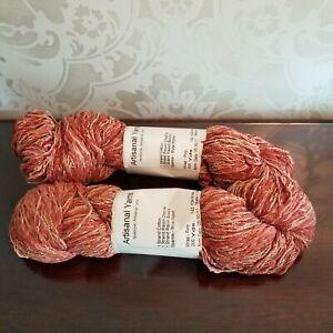 Artisanal-Yarns-2-Skeins-200-yds-each-Cotton-Chenille-Boucle-Mylar