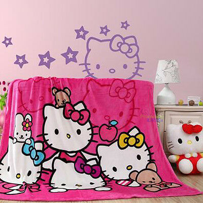 """Beautiful Hello Kitty Cute Supersoft Plush Bedroom Blanket Throw Cover 59""""x78/"""""""