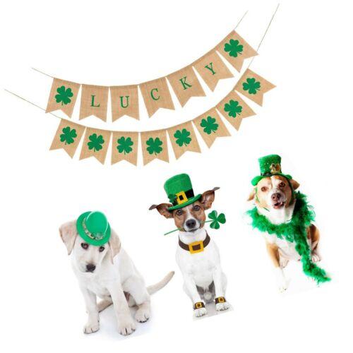 Details about  /2 Pack St Patrick/'s Day Decorations Shamrock Burlap Banner Burlap Banner for...