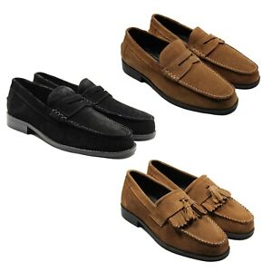 lucini mens suede casual loafers slip on moccasin shoes