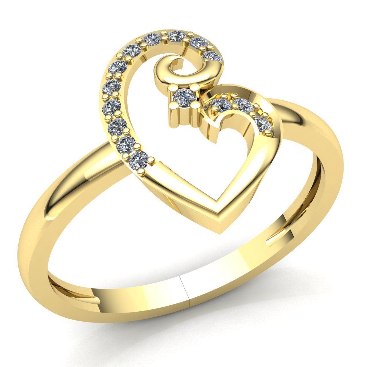 3a968eb506128 Fancy Diamond Cut Round 0.15ct Anniversary Ladies gold 10K Ring ...