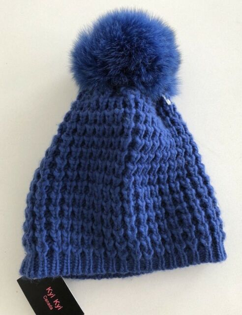 d9b44e0cdb7 KYI KYI CLASSIC REAL FOX FUR Hat Dark Blue NWT