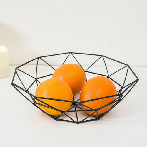 Geometric Fruit Vegetable Wire Basket Metal Bowl Kitchen Storage Desktop Display
