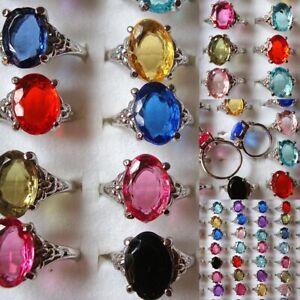 Grosshandel-5stk-Damen-CZ-Zirkon-Edelstein-Gemischt-Strass-Kristall-Ringe-Silber