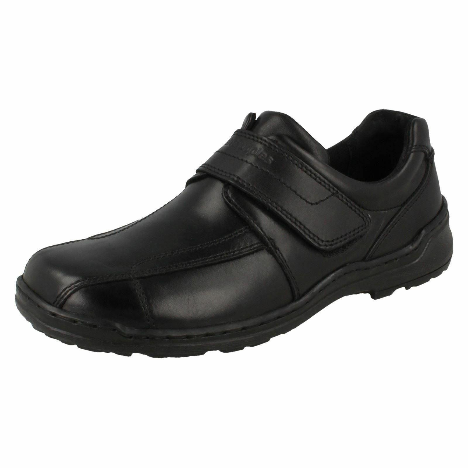 HUSH PUPPIES Grounds Hook and Loop Mens Black Leather Shoe