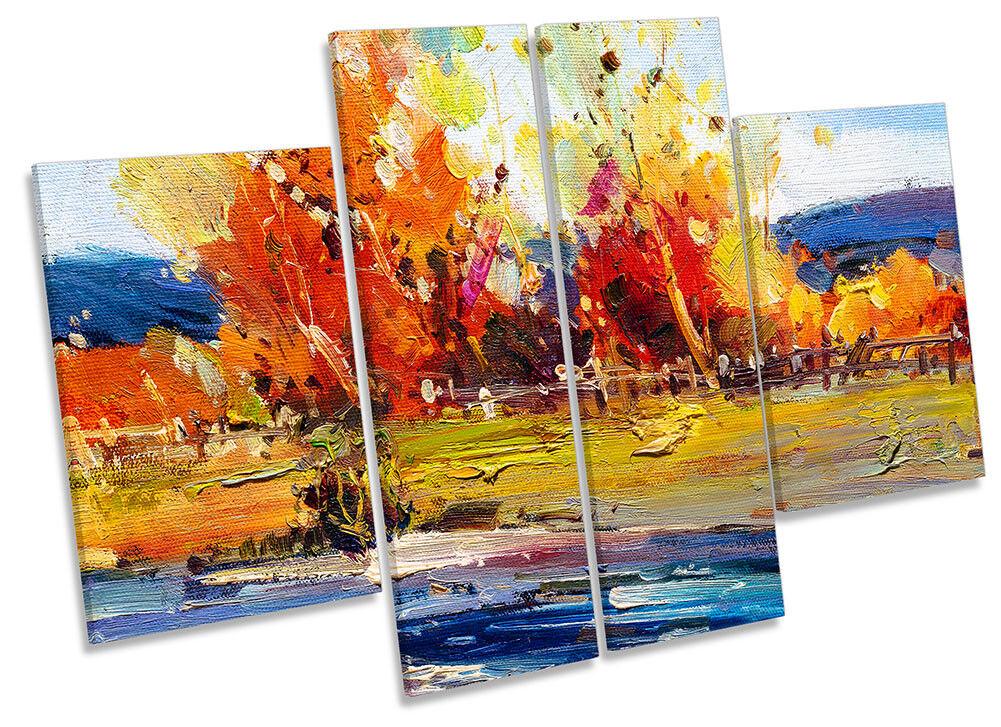 Naranjos paisaje REPRO LONA pared arte panel panel arte de cuatro obras de arte 0bb0eb