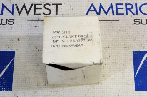 "103D-254G 2.5/"" U-CLAMP DRY BAR GAUGE 1//4/"" NPT BRASS CBM 0-200 PSI NIB"