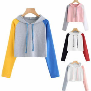Women Short Crop Top Hooded Full Hoodie Sweatshirt Split Joint Sports Wear