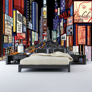 Details About Times Square New York Wall Mural City Illustration Photo Wallpaper Bedroom Decor