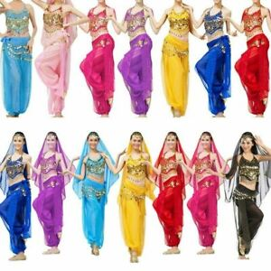 Belly-Dance-Costume-Bollywood-Indian-Dance-Dress-Carnival-Party-Top-Pants-Set