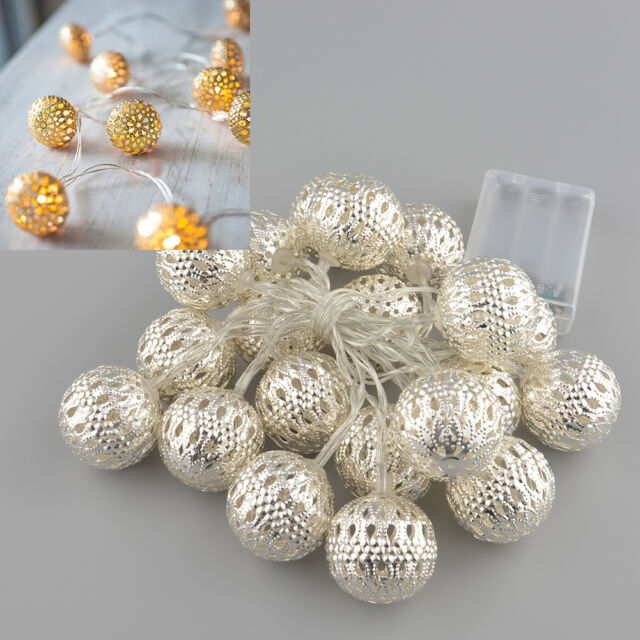 Moroccan Shining 20LED Metal Ball Christmas Home Outdoor Decor Light String